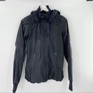 Lululemon black zip up jacket lined with hood